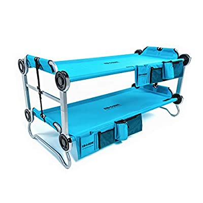 Disc-O-Bed Youth Kid-O-Bunk Benchable Camping Cot with Organizers, Teal Blue