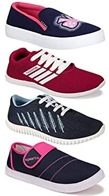 Camfoot Women's (5041-5027-994-5048) Multicolor Casual Sports Running Shoes (Set of 4 Pair)