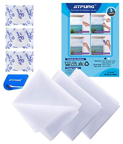 JIT-FUNG Insect Stop Fliegengitter für Fenster - Zuschneidbares Moskitonetz, 1,3m x 1,55m, mit 3 x selbstklebendes Klettband, Fliegen Netz Weiß - 2.0 Pro (3er-Pack)