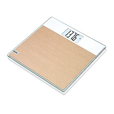 Beurer Digital Weight Glass Body Scale, Large Easy To Read LCD Display. Quick Accurate Reading With a Cool Unique Wood Style, Batteries Included  GS21