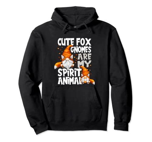 Lindo Fox Spirit Animal Cita Para Los Amantes Del Gnomo Red Fox Gnomos Sudadera con Capucha