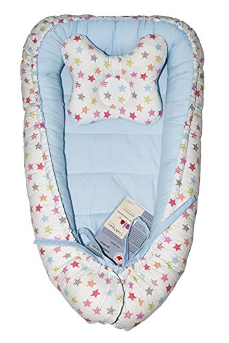 Purchase CraftSpace Deluxe Baby Set (Lounger + Pillow), Double-Sides, for Newborn Babies. Cotton and...