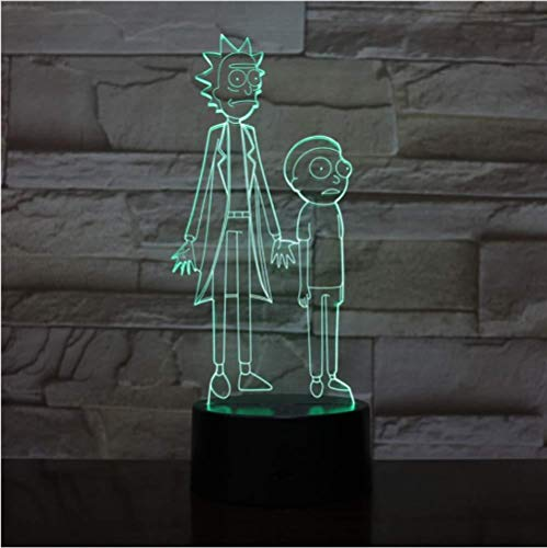 Luz de noche de ilusión LED 3D Rick y Morty para dormitorio de niños Luz decorativa Luz de noche fresca para bebés y niños Regalo Lámpara de cambio de color 3D