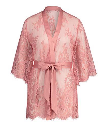HUNKEMÖLLER Damen Kimono Isabelle aus transparenter Spitzenseide als Detail, mit weiten Ärmeln und Gürtel Rose XXS/XXS