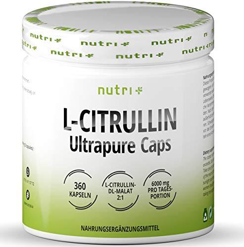 L-CITRULLINE Malate Kapseln - 360 Caps hochdosiert + vegan - Nutri-Plus L-Citrullin Malat DL 2:1 - Fitness und Bodybuilding - Premiumqualität ohne Magnesiumstearat + Zusätze