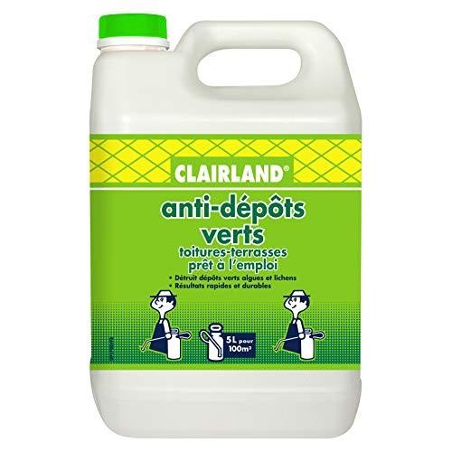 CLAIRLAND Bidon Anti-Dépôts Verts Toitures et Terrasses, Dallages, Murs, Solution prête à l'emploi pour pulvérisateur, 5 L, CLAIRMOUS5000