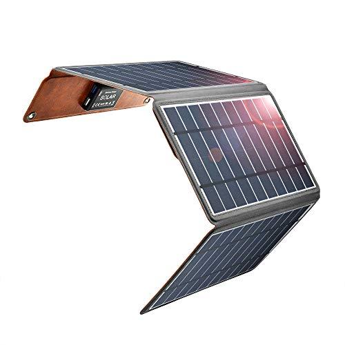 Zuukoo Solarladegeräte, 5V 22W Solarpanel mit doppelten USB-Ports Wasserdicht Faltbar für Smartphones Tablets und Camping Travel