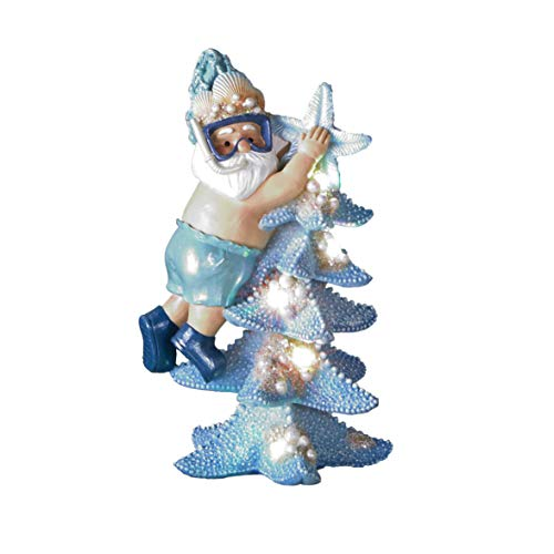 Lighted Coastal Santa and Starfish Christmas Tree Figurine - Holiday Home Accent