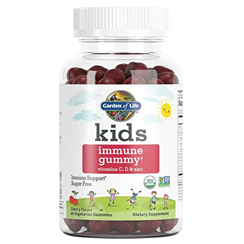 Garden of Life Kids Immune Gummy, Cherry Flavor - Vitamin C, D & Zinc Gummies for Immune Support - Sugar Free, Organic Immunity Gummy Vitamins for Children, 60 Vegetarian Gummies - Packaging May Vary