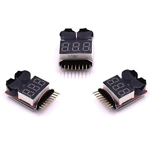 LHI 3 PC. 2 in 1 RC LiMn Li-Fe Battery Checker per batterie da 2 a 8 Lipo Li-Ion con Allarme di Bassa Tensione e indicatore LED