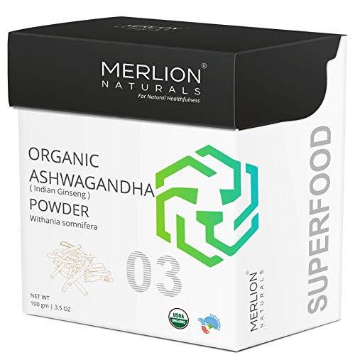 MERLION NATURALS Organic Ashwagandha Root Powder, Withania somnifera/ Indian ginseng, 100gm/ 3.5OZ