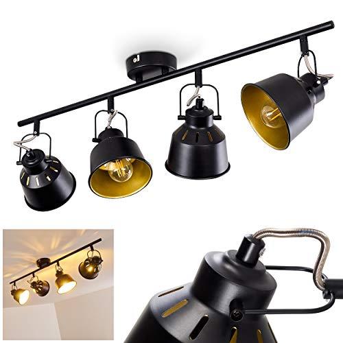 Plafondlamp Safari, metalen plafondlamp in zwart/goud, 4-vlam, met verstelbare spots, 4 x E14 stopcontact, max. 40 Watt, spot in retro/vintage uitvoering, geschikt voor LED-lampen