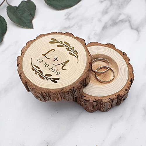BAWAQAF Caja de anillo de madera rústica,Caja personalizada del portador del anillo de boda,Titular del anillo de boda grabado,Joyería,Recuerdo persoalizado