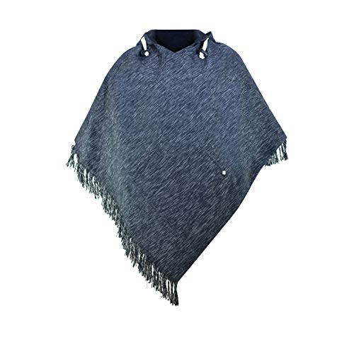 virblatt - Poncho Herren Baja Hoodie goa Jacke Jerga Ethno Pullover Alternative Kleidung Hippie Look - abajo Black Disco XXL