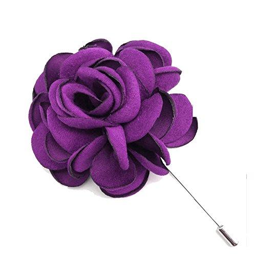ZAKIA Men's Flower Lapel Pin Brooch Handmade Boutonniere for Suit (Bright Purple)