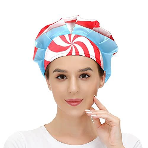 Gorra de mujer para cabello largo con banda elástica ajustable para el sudor, gorras de trabajo para hombres bufanda de cabeza impresa en 3D gorros grandes redondos espiral Lollipop Stick