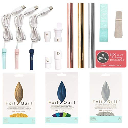 Foil Quill All-in-One Deluxe Bundle, 3 Quill Sizes, 3 Foil Packs, Adapters, Foils, Tape, Design Card