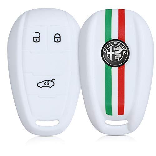 kwmobile Cover chiave compatibile con Alfa Romeo con 3 tasti controllo remoto - Guscio protettivo coprichiave morbido silicone TPU - Bandiera italiana verde/rosso/bianco