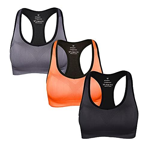 GXIN Sujetadores Deportivos sin Espalda para Mujer Sujetador Deportivo de Alto Impacto para Gimnasio (Negro + Gris + Naranja, L)