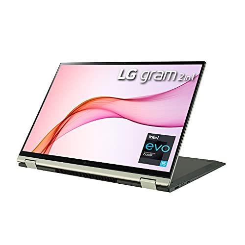 LG Gram 16T90P - 16' WQXGA (2560x1600) 2-in-1 Lightweight Touch Display Laptop, Intel evo with 11th gen Core i5-1135G7 CPU , 16GB RAM, 512GB SSD, 21 Hours Battery, Thunderbolt 4, Green - 2021