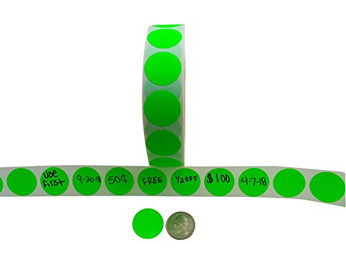 Color Coding Labels + Water Resistant Seals Super Bright Neon Green Round Circle Dots for Organizing Inventory 1 Inch 500 Total Adhesive Stickers (Neon Green)