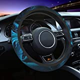 Blue Dragon and Girl Steering Wheel Cover for Women Men, Universal 15 Inch Anti Slip and Sweat Absorption Auto Car Wrap Cover, Fit Suvs, Vans, Sedans, Cars, Trucks