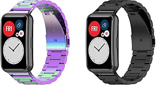 Classicase Compatible con Huawei Watch Fit/Huawei Fit Correa de Reloj, Correa Acero Inoxidable Banda de Reemplazo Correa (Pattern 1+Pattern 4)