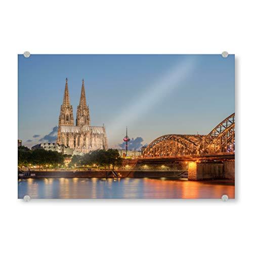 artboxONE Acrylglasbild 30x20 cm Städte Zur blauen Stunde in Köln - Bild köln kölner Dom Beleuchtung