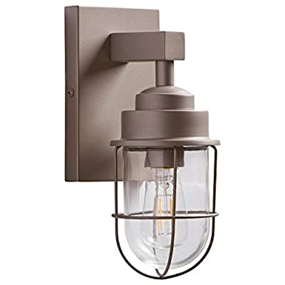 Stone & Beam Jordan Industrial Farmhouse Wall Sconce Fixture With Light Bulb - 4.75 x 5.5 x 11 Inches, Silver, For Indoor Outdoor Use