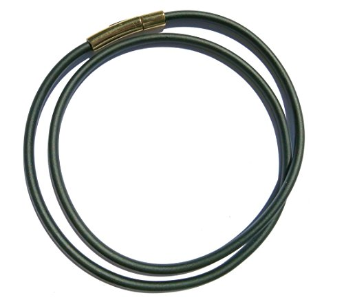 Kautschukhalsband, Halskette, Kautschukband mit rostfreiem, goldfarbenen Edelstahl-Druckverschluss KHG 300, verschiedene Laengen, 3 mm Band-Durchmesser, (43 Zentimeter)