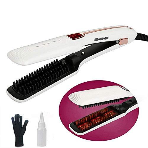 NBWS Plancha de pelo con vapor, plancha plana para peinar el cabello, 3 en 1, turmalina profesional, hierro para alisar el cabello y rizar, Ionic, con pantalla LCD