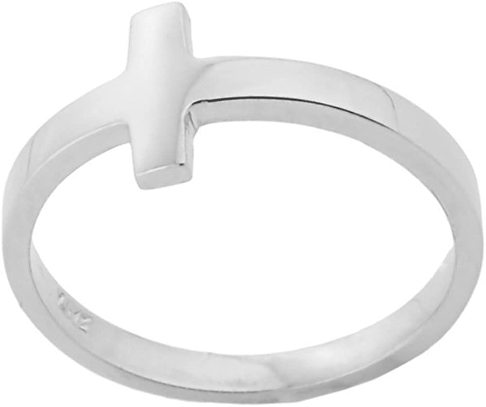 Dainty 14k White Gold Sizable Foot Band Sideways Cross Toe Ring