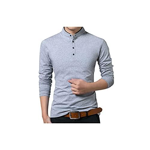Hombre Soporte Cuello de Manga Larga Camisa Superior cómoda Color sólido Top Tamaño de Suma (Color : Gray, Size : L)
