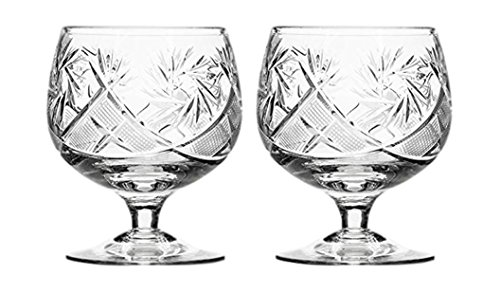 GIFTS PLAZA Set of 2 Hand Made Vintage Russian Crystal Brandy Cognac Snifter, Old-Fashioned Glassware