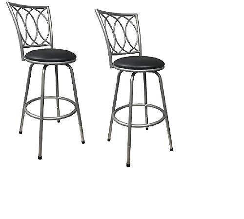 Roundhill Furniture Redico Adjustable Metal Barstool, (2 Silver Stool)