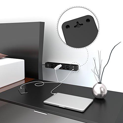 KabelDirekt 5-fach Steckdosenleiste, Mehrfachsteckdose & TÜV-zertifizierte Steckerleiste mit Überspannungsschutz sowie 3-fach USB Ladegerät (max. 4000W/250V/16A mit erhöhtem Berührungsschutz, schwarz)