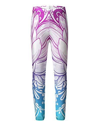 Freebily Kinder Mädchen Training Leggings Sport Leggins Strumpfhosen Stretch Hose Fitness Treggings Tanzhose Jogginghose Workout Pants Casual Hose Bunt 134-140/9-10 Jahre