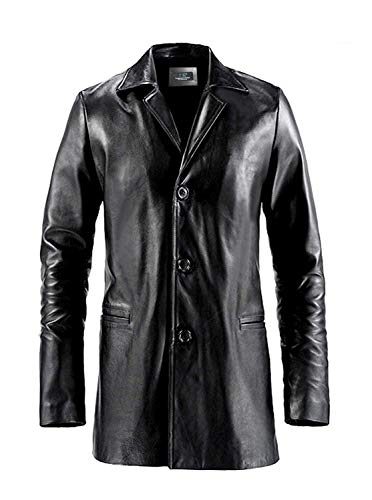 MSR Leather Chaqueta de cuero larga negra para hombres - chaqueta de cuero para hombre - negro - XX-Large