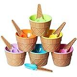 TRIXES - Set di 6 ciotole per gelato con cucchiai coordinati, in plastica, colori assortiti