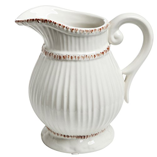 MyGift White Ceramic Vintage Style French Country Water Pitcher Flower Vase/Decorative Bouquet Holder