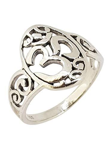 TreasureBay Aum Ohm Om Design 925 Sterling Silver Ring for Men and Women (L)