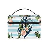 Mr.XZY Anchor Print - Bolsa de maquillaje para mujer, diseño de flores, portátil, con cremallera, bolsa de aseo para mujer y niña 2010164