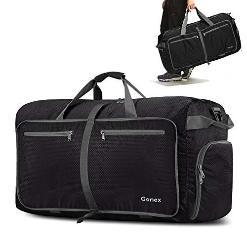 Gonex 100L Borsa da viaggio Borsa Pieghevole Impermeabile per Viaggio Sport Palestra Campeggio Bagaglio a Mano Tracolla con Grande Capacità di 100 Litri (Nero)
