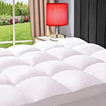 ELEMUSE Queen White Cooling Mattress Topper for Back Pain, Extra Thick Mattress pad Cover, Plush Soft Pillowtop with Elastic Deep Pocket, Overfilled Down Alternative Filling