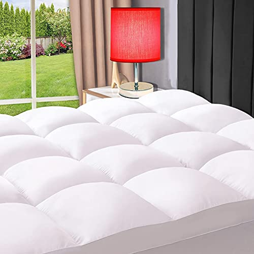 ELEMUSE King White Cooling Mattress Topper for Back Pain, Extra Thick Mattress pad Cover, Plush Soft Pillowtop with Elastic Deep Pocket, Overfilled Down Alternative Filling