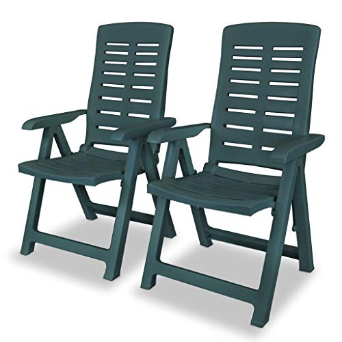vidaXL 2x Reclining Garden Chairs Plastic Green Outdoor Bistro Foldable Seat