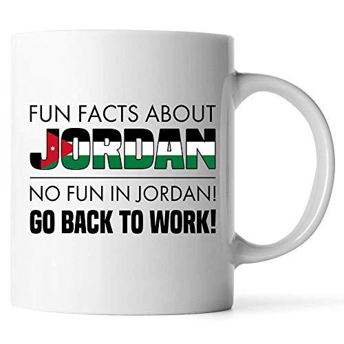 N\A Tazas Personalizadas - Datos Divertidos sobre Jordan No Hay diversión en Jordan Vuelve al Trabajo - Regalo para Amigo Compañero de Trabajo Oficial Taza de café con Leche