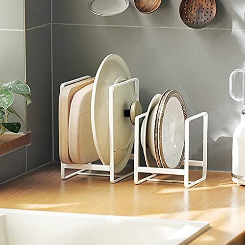 2PCS Plate Holders Organizer, Metal Dish Storage Dying Display Rack for Cabinet, Counter and Cupboard - White, Small and Large