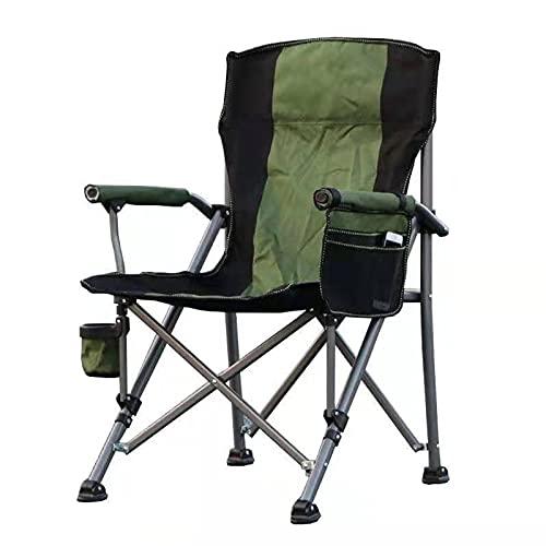 Silla Plegable, Camping Sillas, Playa Silla Plegable Camping con Portavasos, Silla para Exterior para Camping, Senderismo, Caza, Pesca Y Viaje,Verde