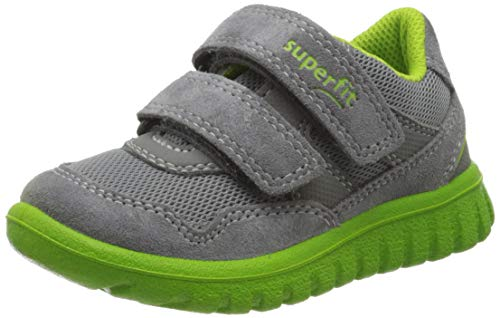 Superfit Jungen SPORT7 Mini Sneaker, Grau (Hellgrau/Grün 25), 24 EU
